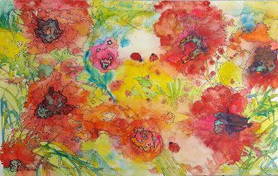 """Angie's Ladybug Garden"" large abstract ladybug garden watercolor by Janice Trane Jones"