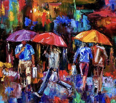 "Cityscape Painting, Rainy City, Figurative Umbrellas, Fine Art Oil Painting ""Shopping Bags"" by Texas Artist Debra Hurd"