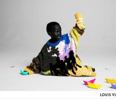 A group of kids front Virgil Abloh's debut Louis Vuitton campaign