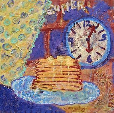 "Abstract , Folk Art, Narrative Art Painting, Food, Clock ""Pancakes for Supper"" Narrative Art by Santa Fe Artist Judi Goolsby"