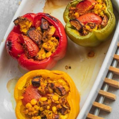Mushroom and tofu stuffed peppers