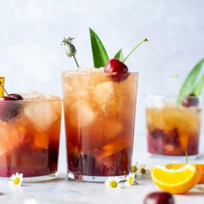 Dark Cherry Kombucha Rum Punch