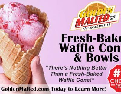 Just In Time for Summer: Add Fresh Baked Golden Malted Waffle Cones and Bowls to Your Menu