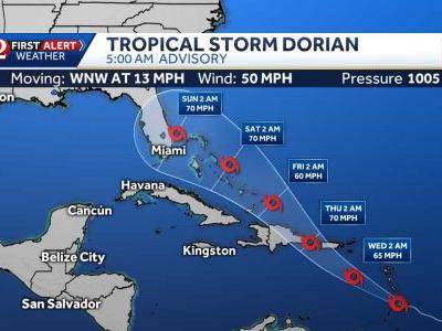 Central Florida is within Tropical Storm Dorian's 5-day forecast cone
