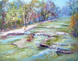 Fall Creek Flow, New Contemporary Landscape Painting by Sheri Jones