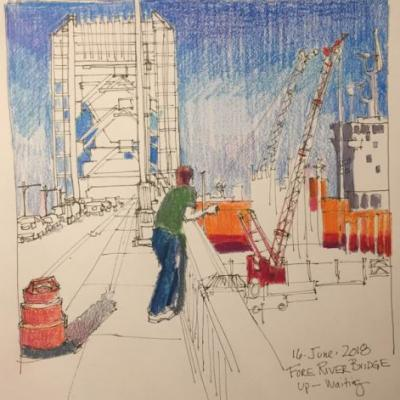 """Day 251 """"Fore River Bridge - Waiting"""" ink and pencils 9 x 9"""