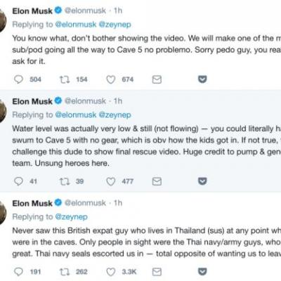 "Elon Musk tweets he'll ""bet ya a signed dollar"" that Thai cave rescuer is a ""pedo"""