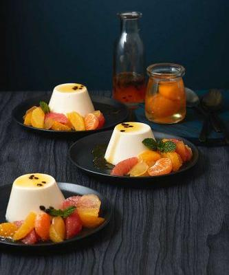 Spring dessert recipe: Coconut Panna Cotta served with Citrus Salad with Passionfruit & Mint