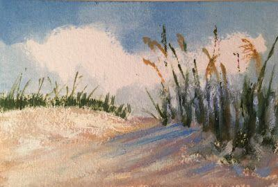 "Miniature Oil Beach Landscape, ""Mini Sea Oats,"" by Amy Whitehouse"