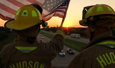Hudson Firefighters Lead 24-Hour 9/11 Flag Tribute On I-94