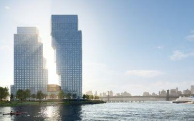 OMA / Jason Long's New York Greenpoint Landing Towers Reach Highest Point of Construction
