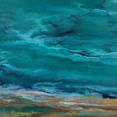 "Contemporary Beach Art, Abstract Seascape Painting, Coastal Art ""In Motion II-Beautiful Storm Series"" by International Contemporary Landscape Artist Kimberly Conrad"