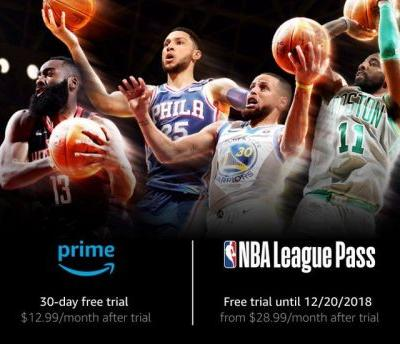 NBA League Pass is free on Amazon Prime Video Channels through Dec. 20