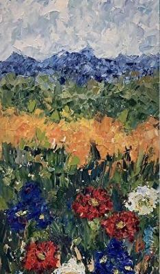 """Palette Knife Impressionist Landscape Painting """"A Spring Trail"""" by Colorado Impressionist Judith Babcock"""