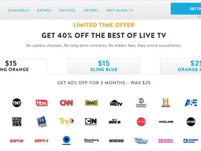Save 40% On Sling TV, Prices Starting At $15 For New Subscribers