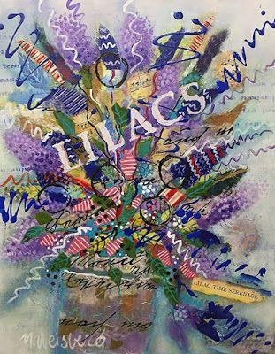 """Abstract Flower Art Painting, Contemporary Art, Music Art, Mixed Media Floral """"Lilac Time Serenade"""" by Illinois Artist Marilyn Weisberg"""