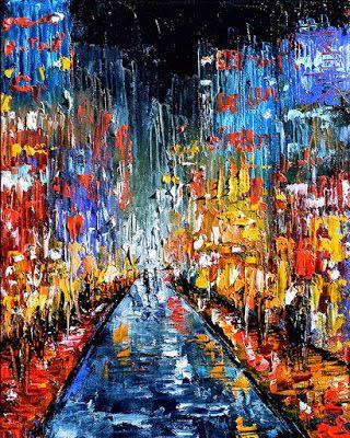 "Cityscape Art Street Scene painting Abstract Paintings ""Evening"" by Texas Artist Debra Hurd"