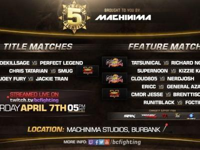 Body Count Fighting presents BCF5 - new Title & Feature matches in Dragon Ball FighterZ, Street Fighter V, & Tekken 7 - on April 7th