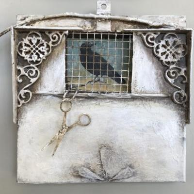 """Contemporary Mixed Media, Assemblage """"Release"""" by Intuitive Artist Joan Fullerton"""