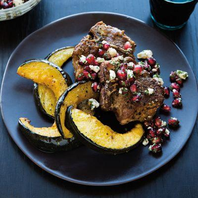 Lamb Chops with Feta-Pomegranate Topping and Squash