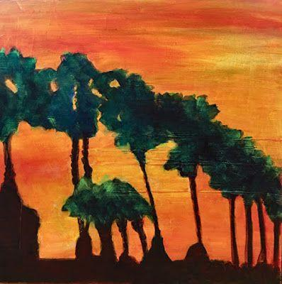 Mixed Media Abstract Landscape Painting,Palm Trees
