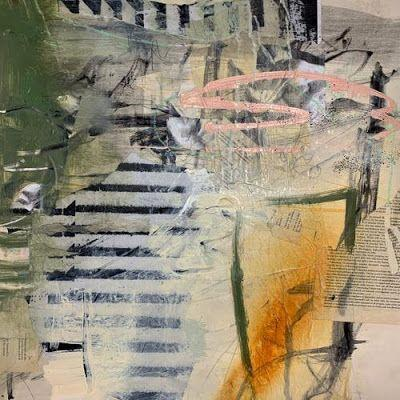 """Contemporary Mixed Media Painting """"Fence Climb"""" by Intuitive Artist Joan Fullerton"""