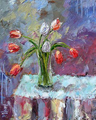 "Floral Still Life Painting Art Colorful Flowers, Tulips ""Two White Tulips"" by Texas Artist Debra Hurd"