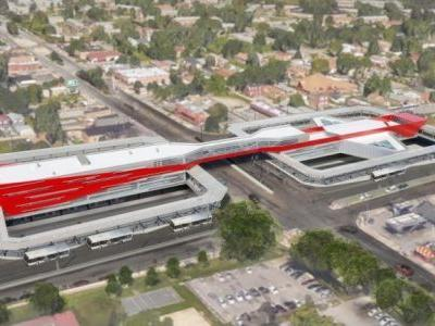 Pedestrian bridge being installed at 95th Street CTA Red Line station