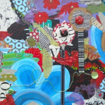 """Colorful Contemporary Abstract Flower Collage Art Painting """"Digging in Dirt"""" by Santa Fe Contemporary Artist Melanie Birk"""
