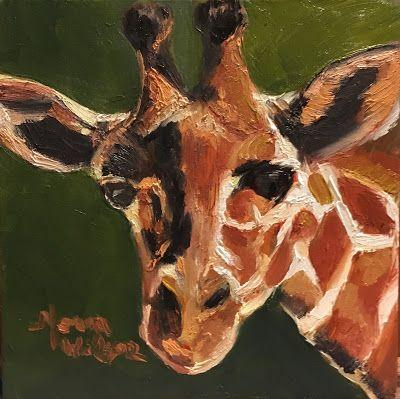 Norma Wilson Original Oil Giraffe Mammal Animal Wildlife Painting Art