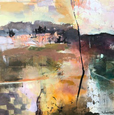 """Contemporary Abstract Landscape Art Painting """"Radiance"""" by Intuitive Artist Joan Fullerton"""