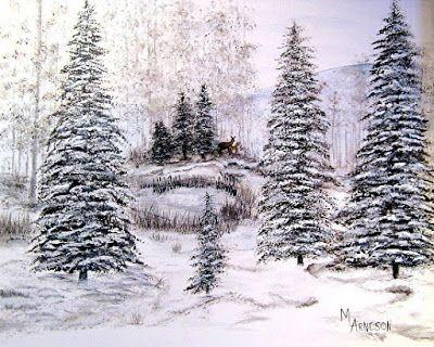 """Winter Snow, Landscape Painting, Colorado Landscape """"Winter's Last Grasp"""" by Mary Arneson Art-Works of Whimsy"""