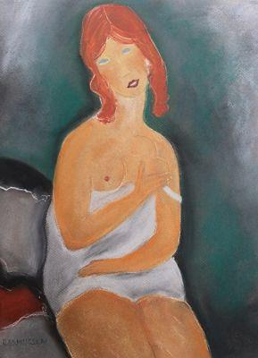 "Figurative Painting Pastel Painting ""Red haired young women, After Modigliani"" by Abstract Artist Nijole Rasmussen"