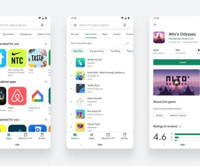 The Google Play Store's redesign is cleaner but not greener