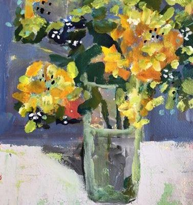 "Contemporary Expressionist Bold Still Life Flower Art Painting ""Alstromeria, Yellow"" by Santa Fe Artist Annie O'Brien Gonzales"