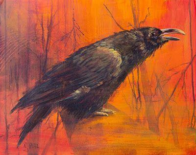 "Wildlife,Bird, Raven Fine Art Painting ""Survivor"" by Colorado Artist Nancee Jean Busses, Painter of the American West"