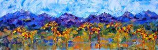 "Palette Knife Abstract Horse Art Painting ""Cinco Caballos"" by Colorado Impressionist Judith Babcock"