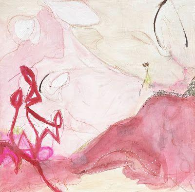 """Contemporary Art, Abstract Expressionist Fine Art Painting, Art for Sale """"CHAMPAGNE & STRAWBERRIES"""