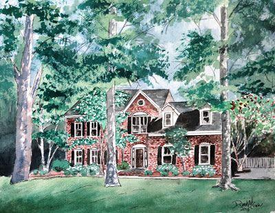 Watercolor House Paintings