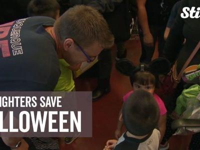 Firefighters give away 300 Halloween costumes to kids in need