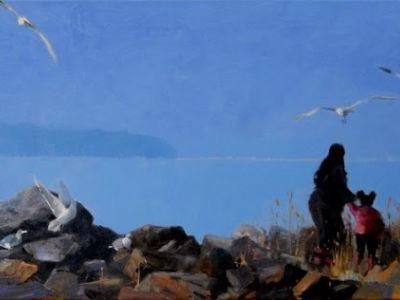 """Feeding the Gulls"" oil, landscape painting by Robin Weiss"
