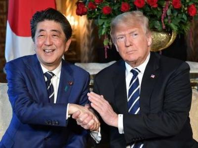 Trump talks trade and riffs on nuclear weapons during a news conference with Japanese PM Shinzo Abe