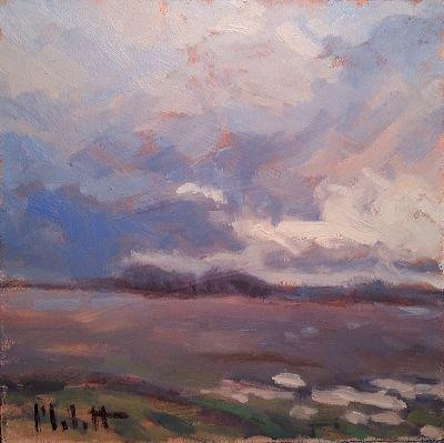 One of my Favorites from 2016 Rainy Fields Impressionist Oil Painting