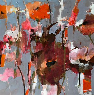 """Botanical Abstract Painting, Contemporary Art, Mixed Media """"REVEIRE"""" by Intuitive Artist Joan Fullerton"""