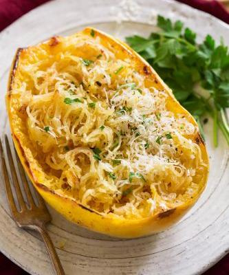 Roasted Spaghetti Squash with Browned Butter and Parmesan