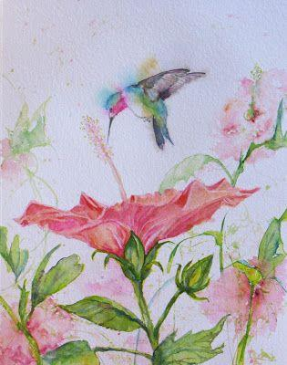Hibscus & Hummingbird Exchange Original abstract Hummingbird flower watercolor by Janice Trane Jones