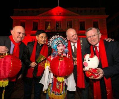 Dublin sees red! Buildings light up in red to celebrate Chinese New Year