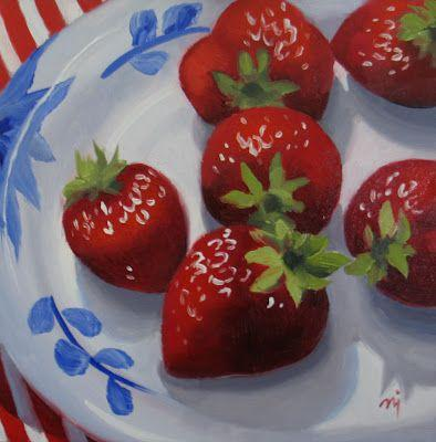 Strawberries on Patterned Plate