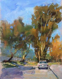 PLEIN AIR FROM MY CAR by TOM BROWN