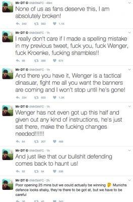 """Angry Arsenal fan and YouTube celebrity DT commits to Wenger Out banner campaign after Bayern """"shambles"""""""